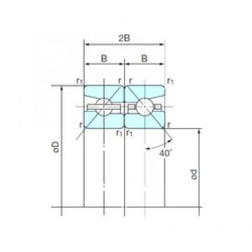 105 mm x 160 mm x 24,75 mm  NACHI 105TBH10DB Duplex angular contact ball bearings HT series