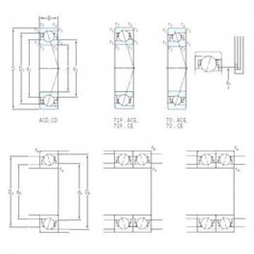 110 mm x 140 mm x 16 mm  SKF 71822 CD/HCP4 DBB, DFF, DBT, DFT, DTT, Quadruplex Precision Bearings